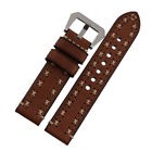 Vintage Replacement Genuine Leather Watch Band Strap Tang Buckle For Panerai