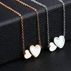 Double Heart Shaped Pendant Necklace Stainless Steel Jewelry Gift for Girlfriend