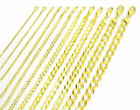 "Solid 14K Yellow Gold 1.5mm-12mm Curb Chain Cuban Link Necklace Bracelet 7""- 30"""