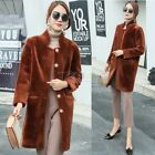 Women's Winter Warm Real Shearling Coat Outwear Jacket Leisure Fashion Coat New