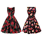 50's Retro Hepburn Style Rockabilly Swing Evening Pinup Prom Floral Ladies Dress