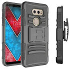 For LG V30 Heavy Duty Shockproof Armor Hard  Case Cover w/ Belt Clip Holster