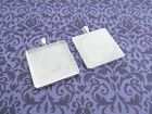 30mm Square Pendant Trays - Shiny Silver - 1 3/16