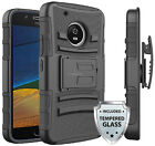 For Motorola Moto E4 Heavy Duty Case Cover w/ Belt Clip Holster + Glass Screen