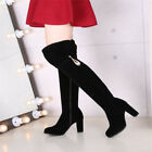 Womens block high heel fur warm over knee Boots faux suede pumps round toe shoes