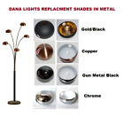 NEW METAL CHROME REPLACEMENT SHADES FOR 5 ARM DANA LOUNGE ARC FLOOR LAMP