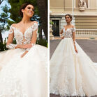White Ivory Wedding Dresses Bridal Gown Sweetheart Neck Long Sleeve Lace Vintage