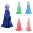 New Long Women Chiffon Beaded O-Neck Prom Party Dress Formal  Evening Ball Gown