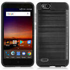 For ZTE Tempo X Brushed Armor Rubber Hard Cover Protector Case w/ Tempered Glass