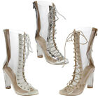Womens Lace Up Block High Clear Heel Mid-calf Boots Peep Toe Corset Ladies Shoes