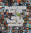 Horror DVD Lot  2: 183 Movies to Pick From! Buy Multiple And Save!