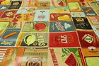 Retro Hot Dog and Fruits and Coffee PVC Easy Wipe Clean Tablecloth 140cm Wide