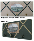 Linen covered,Burford Cotswolds picture Key hanger/Memo/message/pin/notice board