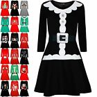 Womens Ladies Christmas Santa Claus Father Belted Suit Costume Mini Swing Dress
