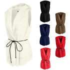 NE PEOPLE Womens Lightweight Faux Fur Hooded Vest with Belt