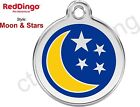 Red Dingo MOON & STARS Engraved Dog ID Pet Tag/Charm - Stainless Steel & Enamel