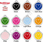 Red Dingo TRIBAL HEART Engraved Dog ID Pet Tag / Charm - Stainless Steel Enamel