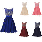 Short Women O-neck Chiffon Beaded Homecoming Dress Formal Evening Prom Ball Gown