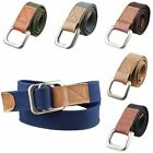 Women Men's Canvas Leather Solid Color Double D-Ring Buckle Waistband Belt 46''