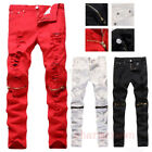 Men Red White Skinny Slim Biker Pants Knee Zipper Distressed Ripped Denim Jeans*