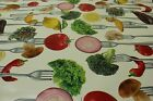 Fork and Vegetables PVC Easy Wipe Clean Tablecloth 140cm Wide