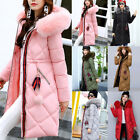 NEW Women's Winter long Down Padded Parka Fur Collar Hooded Coat Quilted Jacket