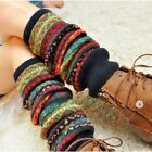 US Women Winter Warm Knitted Leg Warmers Lady Cable Crochet High Long Boot Socks
