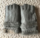 Warm Thick Real Sheepskin Wool Fur Women's Half-Finger Gloves Girls Winter -0722