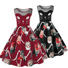 Retro Women Cat Print Swing 1950s Housewife Pinup Vintage Rockabilly Party Dress