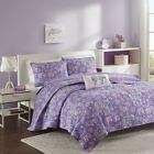 Luxury Soft Purple Paisley & Elephants Coverlet Quilt Set AND Decorative Pillow