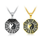 Vintage Jewelry Tai Chi Bagua Pendant Stainless Steel Chain Necklace Xmas Gifts