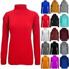 Womens Ladies High Polo Turtle Neck Chunky Cable Knit Long Sleeve Sweater Jumper