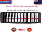 """KING TONY 5/32-1/2inch Imperial 10 PC.1/4""""DR 6PT Deep Socket Set with steel case"""