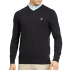 Lyle & Scott Black Fine Knit V Neck Jumper KN401V