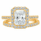 2.2CT Emerald Cut Engagement Bridal Solitaire Pave Ring Band set 14k Yellow Gold