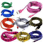 Braided Fabric Micro USB Data & Sync Charger Cable Cord H3U5 for Android Nylon