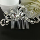 Women Delicate Shiny Crystal Pearl Hair Comb Hairclip Headband Wedding Jewelrey