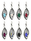 Sterling Silver Navette Shape Pendant made with 4228 10mm Swarovski® Crystals
