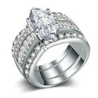 925 Silver Filled Jewelry Marquise Cut White Sapphire Wedding Ring Size 6-10