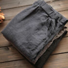 Womens Ladies Summer Cotton Linen Elastic Waist Loose Casual Pants Trousers    T