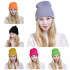 Women Beanie Knit Ski Cap Hip-Hop Pure Color Winter Warm Wool Flanging Hat Gift