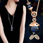 Hot Women Crystal Bling Cartoon Fish Pendant Sweater Collar Chain Necklace