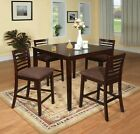 Counter Height Dining Furniture 5pc Set Espresso Finish Microfiber Seats Chair