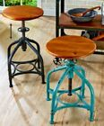 Adjustable Height Stools Swivel Bar Rustic Industrial Farmhouse Kitchen Desk New