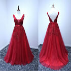 Sexy Red V Neck Back Prom Dress Formal Appliques Evening Ball Party Pageant Gown