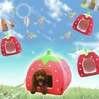 Soft Strawberry Pet Igloo Dog Cat Bed House Kennel Doggy Cushion Pad