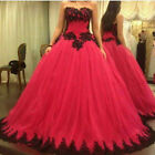 Red and Black Appliques Prom Dresses Gothic Strapless Evening Party Pageant Gown