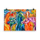 """Wild Horse Herd Abstract """"Coat of Many Colors"""" Glossy unframed Print"""