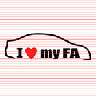 I Love My FA Decal Sticker JDM Heart Tuner Honda Civic Si Sedan Coupe EX DX LX