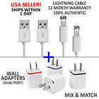 Primeval OEM Apple iPhone Charger Cord, 3ft, 6ft, Wall Plugs Lightning Cable LOT